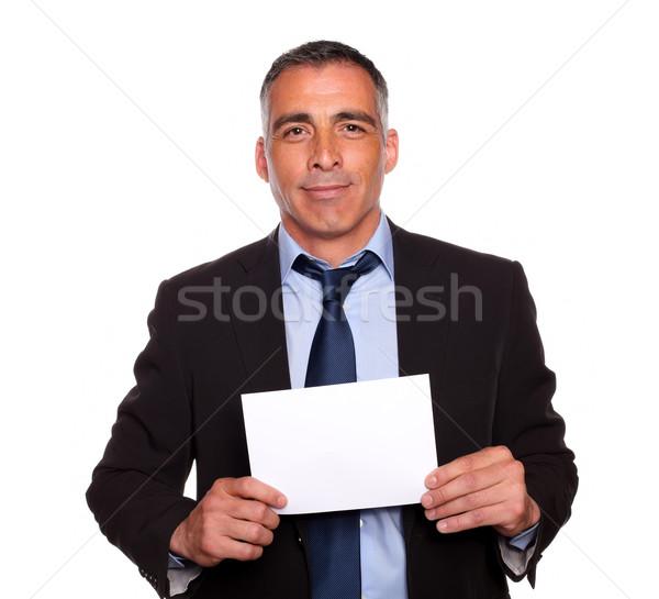 положительный бизнесмен глядя портрет счастливым Сток-фото © pablocalvog