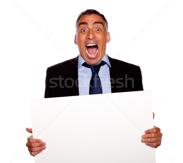 Stockfoto: Latino · senior · zakenman · schreeuwen · portret