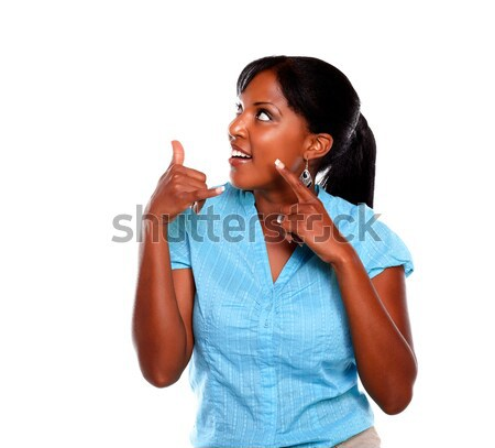 Dalgın genç siyah kadın mavi gömlek beyaz Stok fotoğraf © pablocalvog