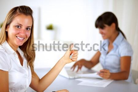 ブロンド 女性実業家 ことわざ 作業 オフィス ストックフォト © pablocalvog