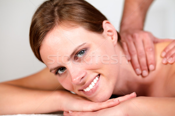 Stock photo: Lovely pretty woman smiling and relaxing