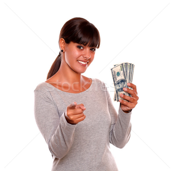 Smiling young woman with money looking at you Stock photo © pablocalvog
