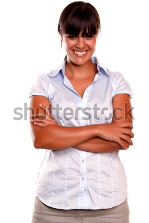 Positive young woman looking and smiling at you Stock photo © pablocalvog