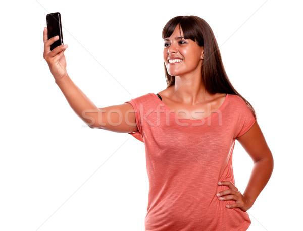 ストックフォト: 小さな · 女性 · 画像 · 携帯電話 · 笑みを浮かべて