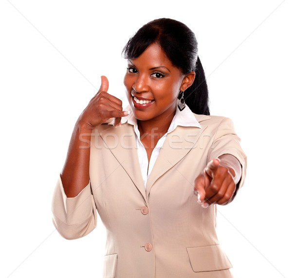 Charming businesswoman pointing at you Stock photo © pablocalvog