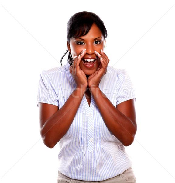 Czarny młoda kobieta krzyczeć kobieta uśmiech tle Zdjęcia stock © pablocalvog