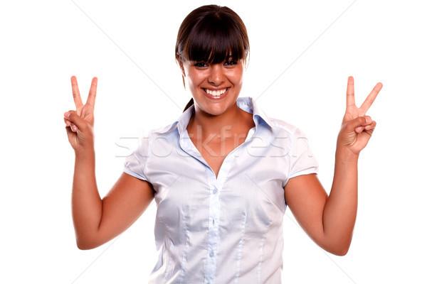 Stok fotoğraf: Genç · kadın · kazanan · tutum · gülen · bakıyor
