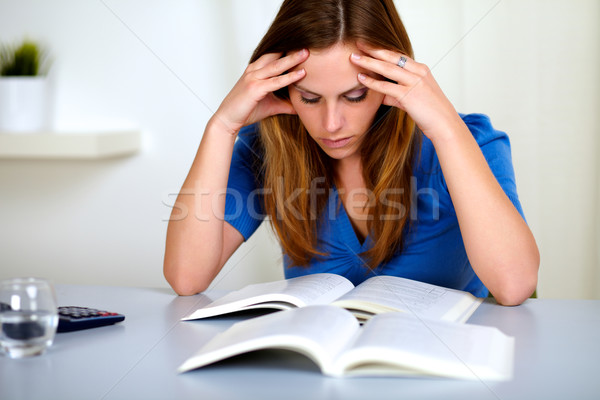 Pretty fatigue blonde student girl learning Stock photo © pablocalvog