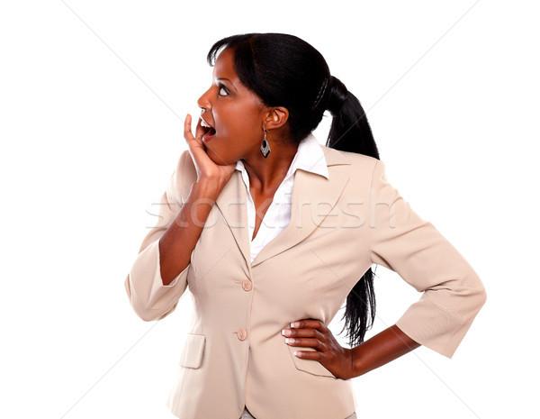Sorprendido ejecutivo jóvenes dama mirando Foto stock © pablocalvog
