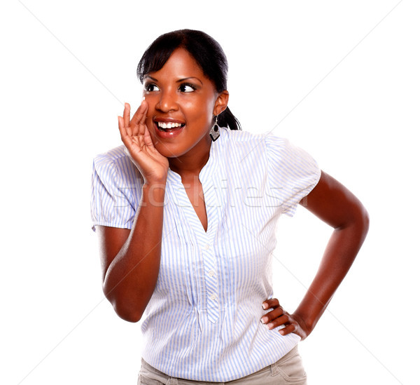Lovely black young woman screaming Stock photo © pablocalvog