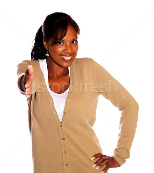 Dość młoda kobieta strony kobieta dziewczyna świetle Zdjęcia stock © pablocalvog