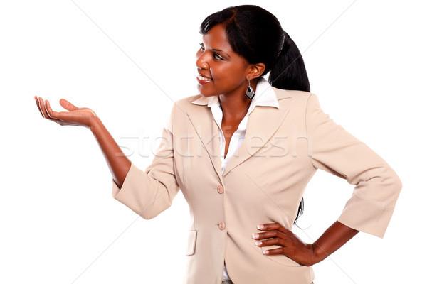 Zdjęcia stock: Kobieta · interesu · ramię · w · górę · patrząc