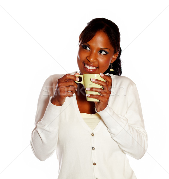 Genç kadın kahve beyaz su arka plan Stok fotoğraf © pablocalvog