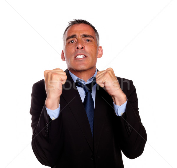 Business man with clenched fists Stock photo © pablocalvog