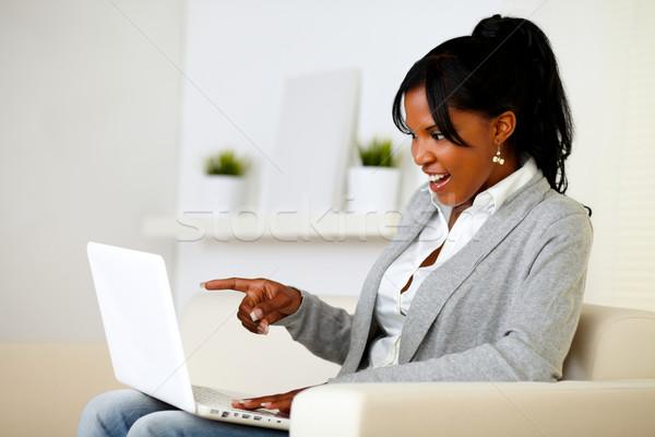 Stockfoto: Verwonderd · vrouw · wijzend · laptop · scherm · portret