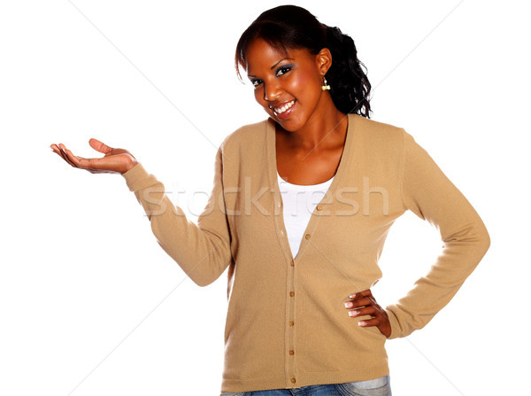 Afro-american woman with extended hand Stock photo © pablocalvog