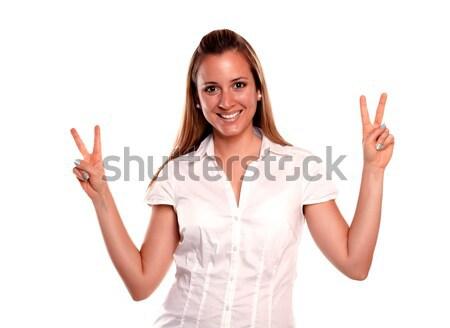 дружественный молодые женщины победа отношение глядя Сток-фото © pablocalvog