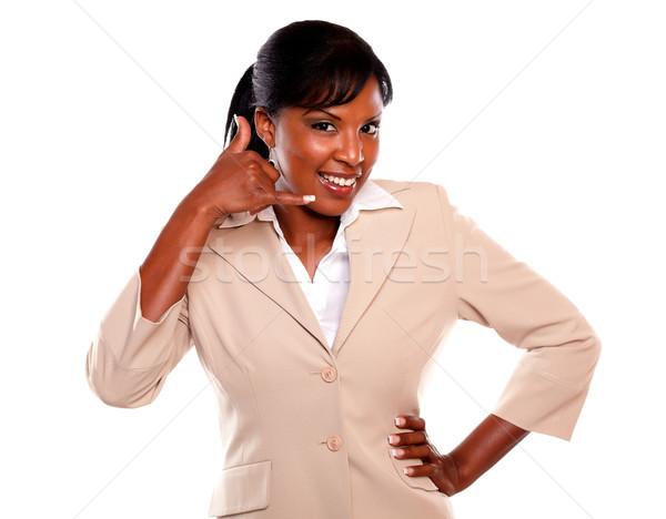 魅力的な 女性実業家 ことわざ 私を呼び出す 見える 手 ストックフォト © pablocalvog