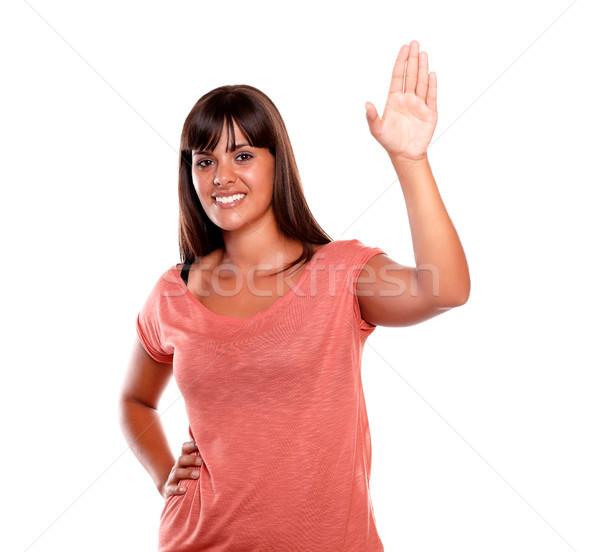 Elegancki młoda kobieta powitanie patrząc kobieta strony Zdjęcia stock © pablocalvog