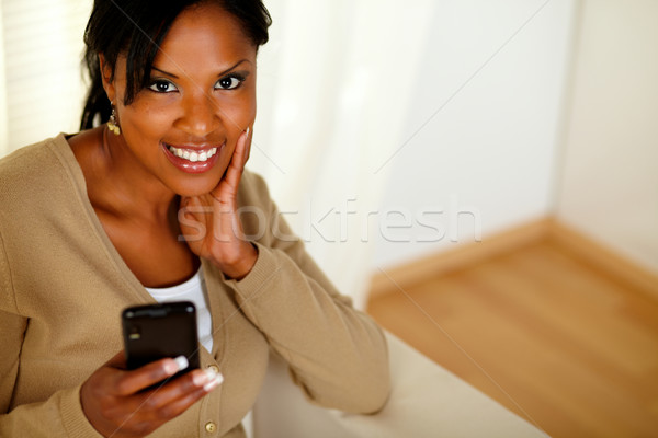 Fiatal nő küldés üzenet felső kilátás Stock fotó © pablocalvog