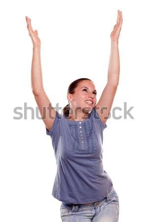 Stockfoto: Gelukkig · vrouw · vieren · overwinning · armen · omhoog