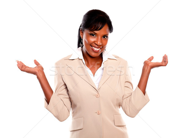 Charmig executivewoman with arms up looking at you Stock photo © pablocalvog