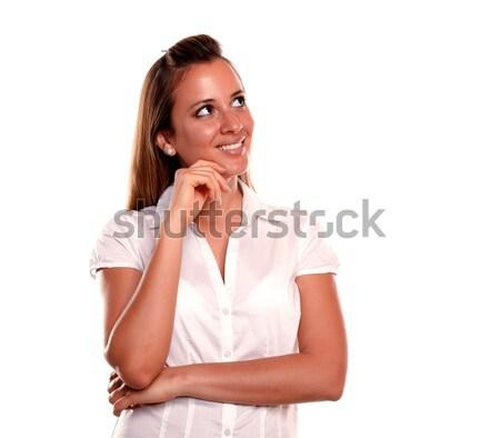 задумчивый белый женщину фон Сток-фото © pablocalvog
