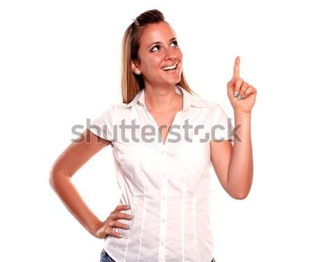 Stok fotoğraf: Genç · kadın · işaret · yukarı · bakıyor