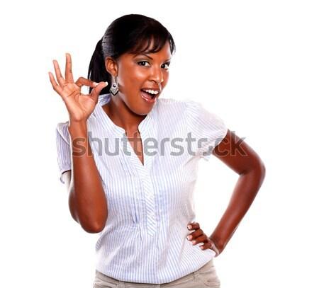 Stockfoto: Glimlachend · vrouwelijke · naar · gezegde · groot · baan