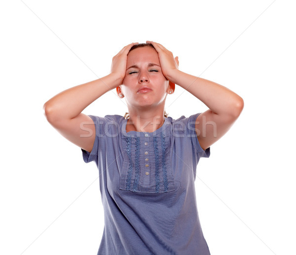 Stressed and tired young woman with headache Stock photo © pablocalvog