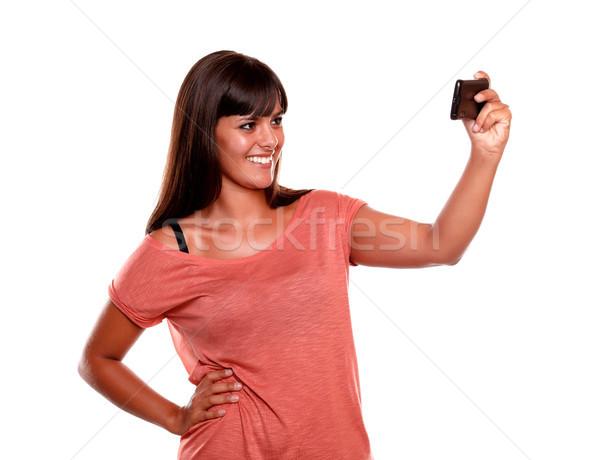 ストックフォト: 笑顔の女性 · 画像 · 携帯 · 携帯電話 · 孤立した
