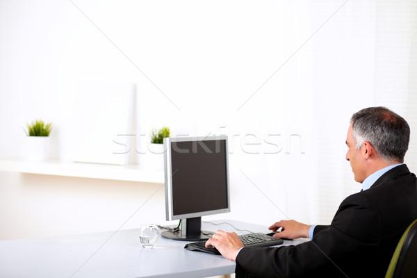 Stockfoto: Uitvoerende · werken · computer · portret · senior · kantoor