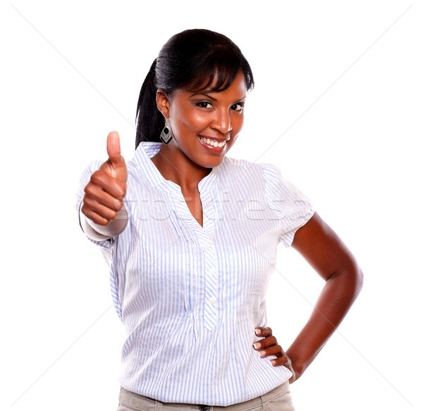 Positive young woman lifting the finger up Stock photo © pablocalvog