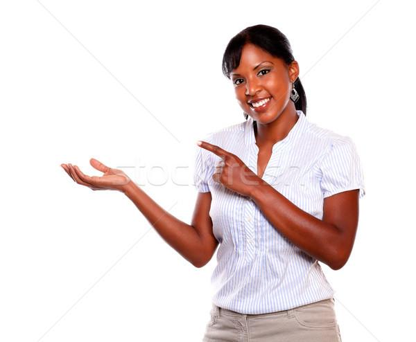 Yetişkin etik kadın bakıyor işaret doğru Stok fotoğraf © pablocalvog