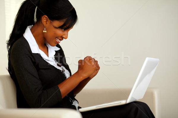 Siyah takım elbise dizüstü bilgisayar portre iş Stok fotoğraf © pablocalvog