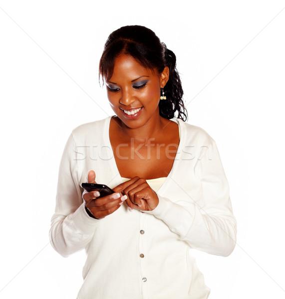 Belle jeune femme appelant noir blanche Photo stock © pablocalvog