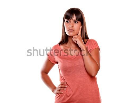 Stok fotoğraf: Dalgın · genç · kadın · bakıyor · doğru · yukarı