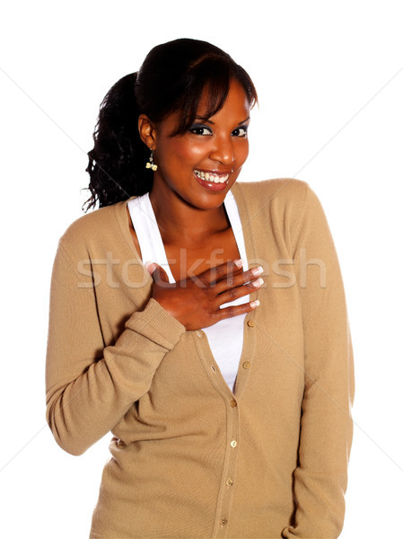 Attractive afro-american woman looking at you Stock photo © pablocalvog