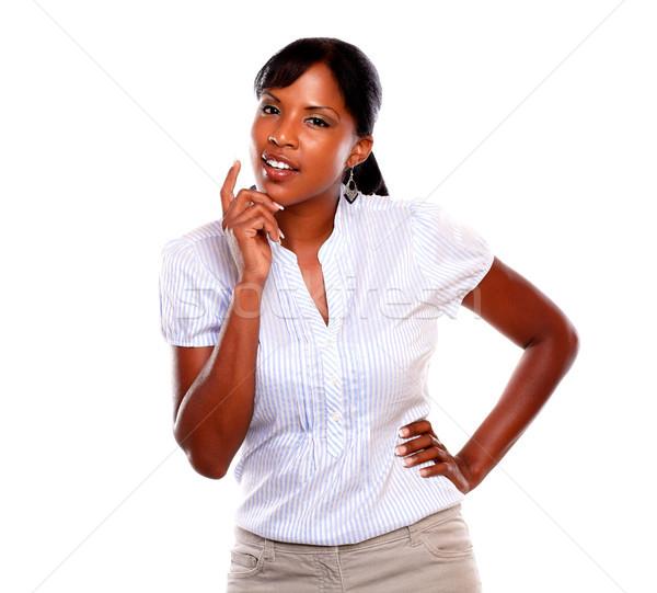 Tükröződő fiatal nő néz nő háttér fiatal Stock fotó © pablocalvog