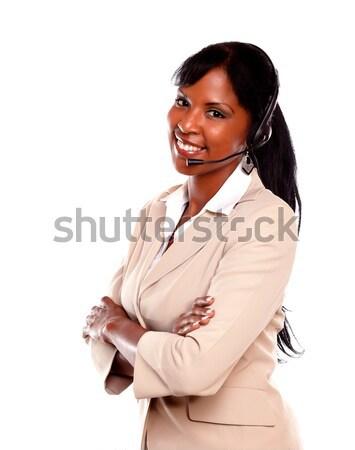 очаровательный Call Center сотрудник улыбаясь гарнитура Сток-фото © pablocalvog