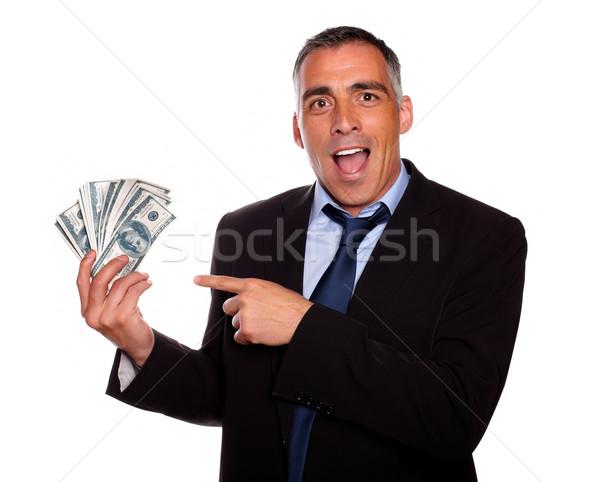 Ambiciózus igazgató tart pénz pénz portré Stock fotó © pablocalvog