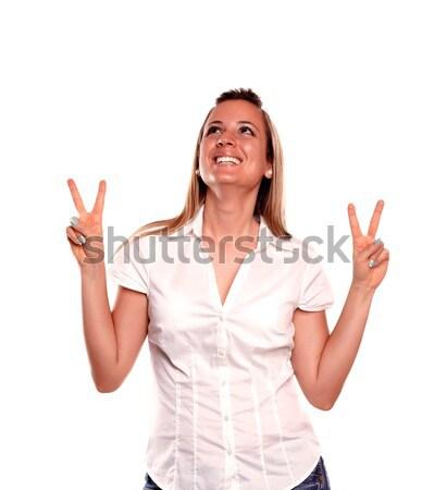 Sorridere vincente atteggiamento bianco Foto d'archivio © pablocalvog