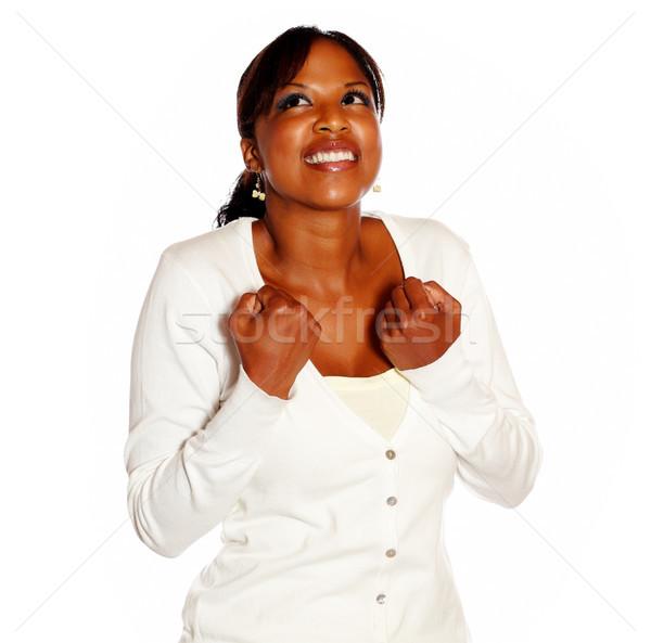 Adulto donna vittoria isolato sorriso Foto d'archivio © pablocalvog