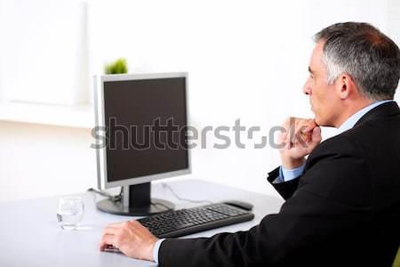 бизнесмен рабочих компьютер портрет старший служба Сток-фото © pablocalvog