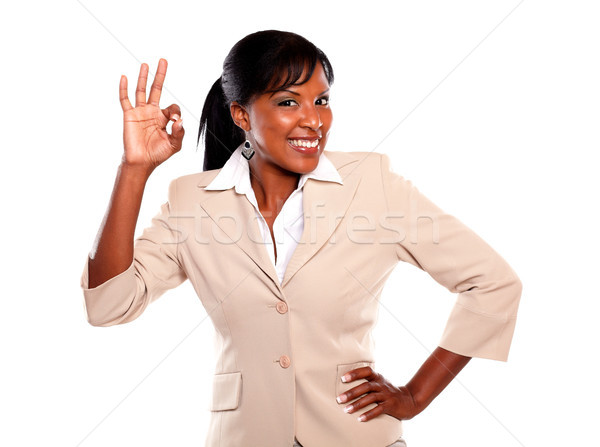 Happy young businesswoman saying great job Stock photo © pablocalvog