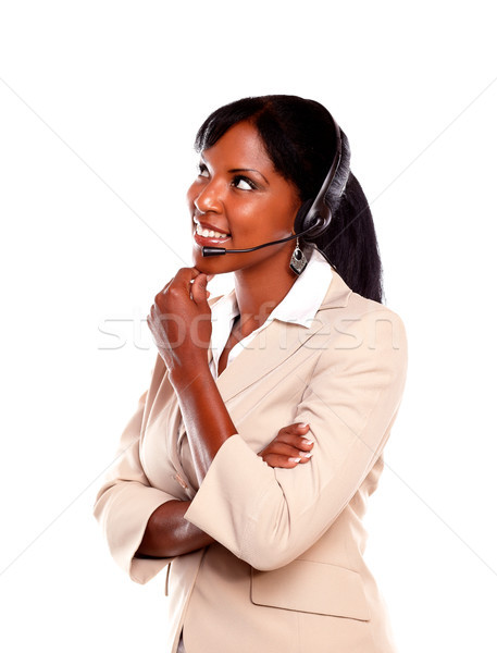 Attractive young receptionist wearing headset Stock photo © pablocalvog