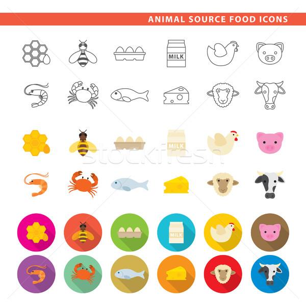Animal source food icons. Stock photo © padrinan