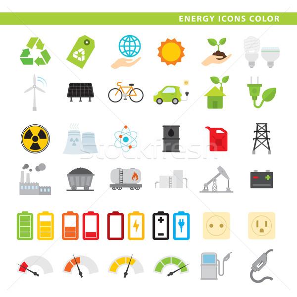 energy icons color Stock photo © padrinan