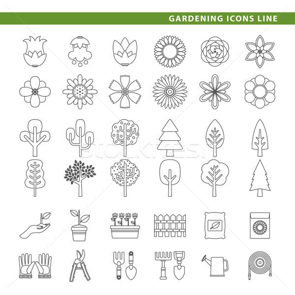 Gardening icons line. Stock photo © padrinan