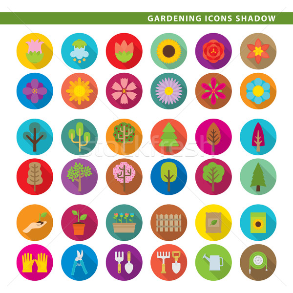 Gardening icons shadow. Stock photo © padrinan